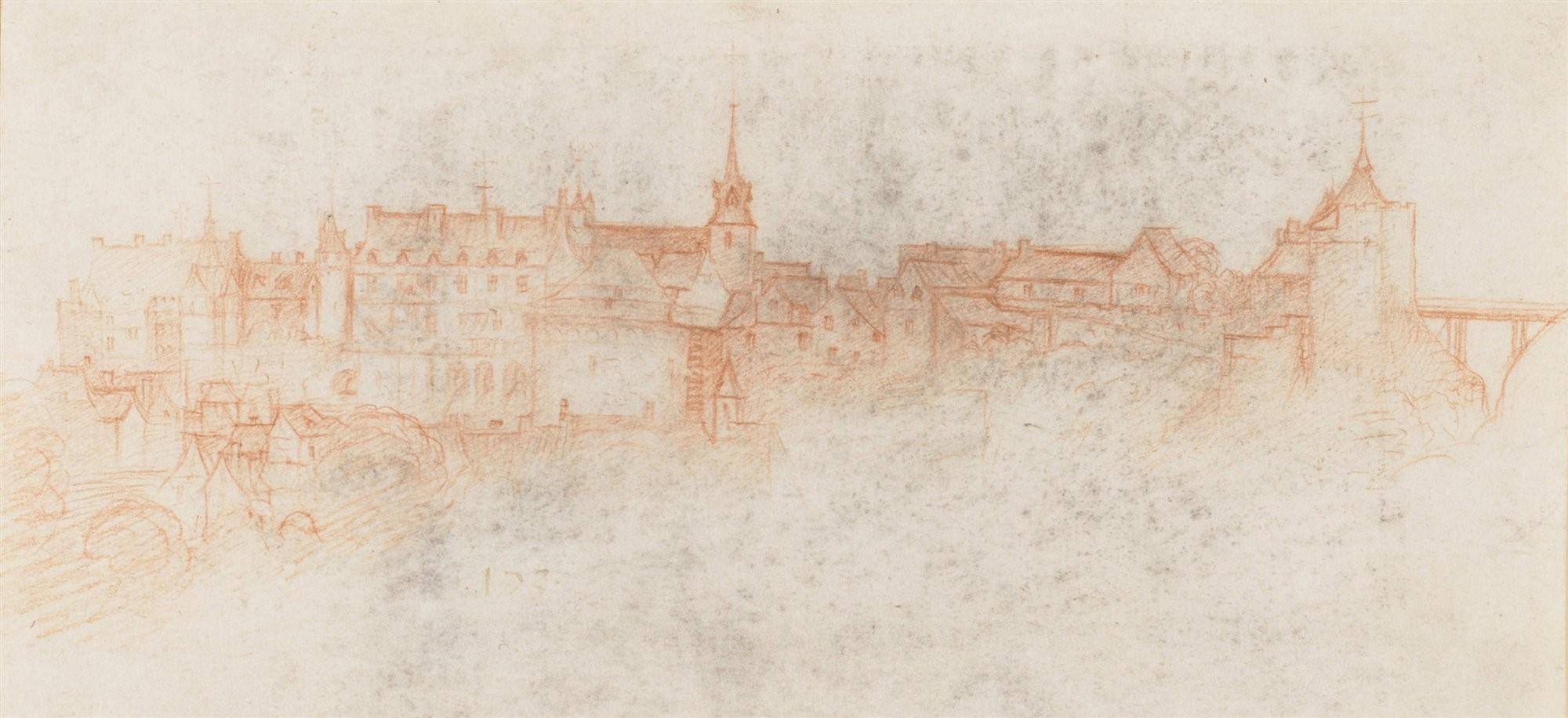 Vista del Castillo de Amboise desde mi residencia dibujada por uno de mis discípulos.